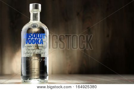 POZNAN POLAND - DEC 12 2016: Absolut Vodka is a brand of vodka produced near Ahus in Sweden. Owned by French group Pernod Ricard it is one of the largest brand of alcoholic spirits in the world.