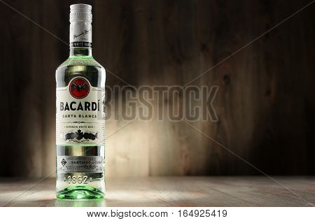 POZNAN POLAND - DEC 8 2016: Bacardi white rum is a product of Bacardi Limited the largest privately held family-owned spirits company in the world headquartered in Hamilton Bermuda.