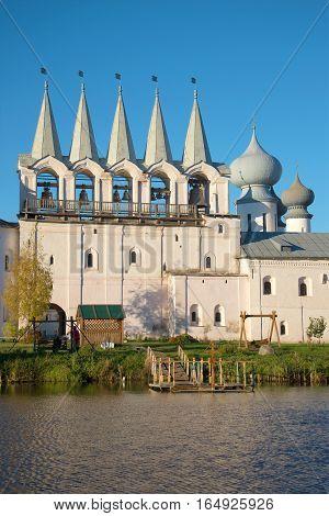 Belfry of the Tikhvin Uspensky monastery in the October evening close up. Tikhvin, Russia