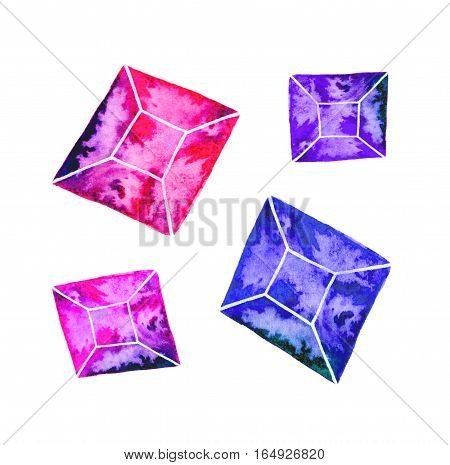 Gem or crystal. Hand-drawn mineral gemstones on the white background - saphire. Real watercolor illustration