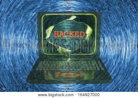Computer hacking, conceptual image. 3D illustration showing bursting of laptop screen and hacked word