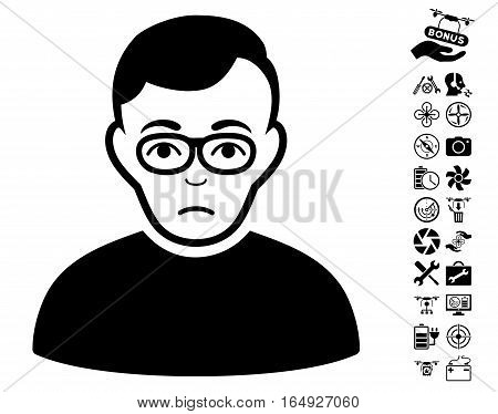 Downer pictograph with bonus quad copter tools graphic icons. Vector illustration style is flat iconic black symbols on white background.
