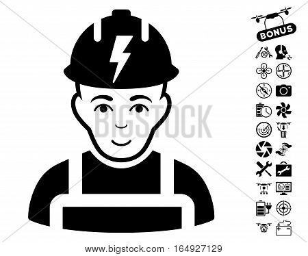 Electrician pictograph with bonus copter tools images. Vector illustration style is flat iconic black symbols on white background.