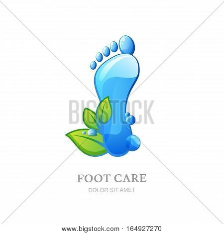 Womens Foot Care Vector Logo, Label Design. Female Sole With Clean Water Texture And Green Leaves.