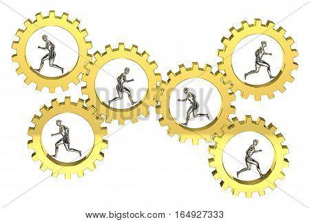 3D gear model running motion group cooperative teamwork