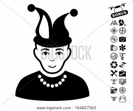Fool icon with bonus flying drone service pictures. Vector illustration style is flat iconic black symbols on white background.