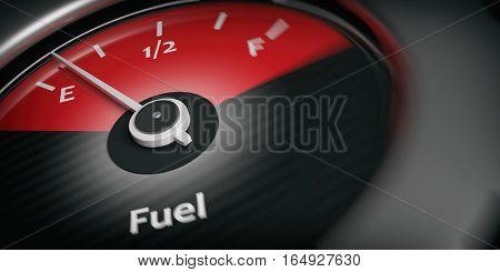3D Rendering Car Indicator Fuel Empty