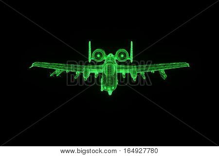 Airplane Jet in Hologram Wireframe Style. Nice 3D Rendering