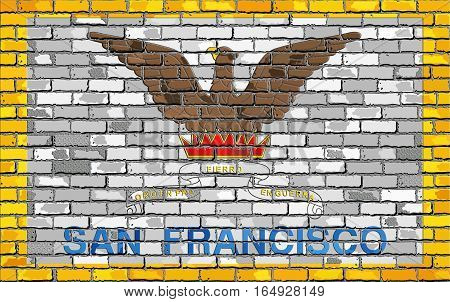 Flag of San Francisco on a brick wall with effect - 3D Illustration,  San Francisco flag in brick style