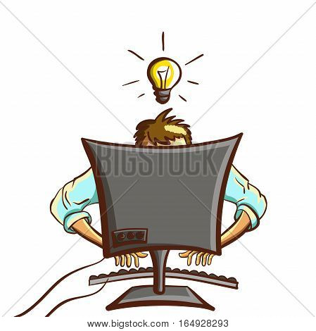 Hand drawn busy programmer isolated on white background. Vector illustration