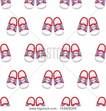Sneakers. Seamless pattern. Vector illustration on a white background. Swatch inside.