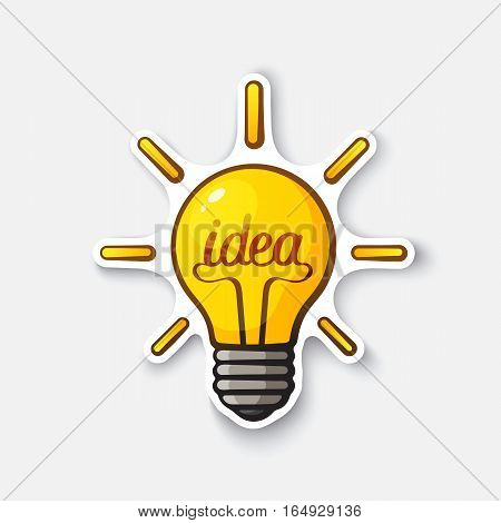 Vector illustration. light bulb with the word idea and shine. Cartoon sticker in comic style with contour. Decoration for greeting cards, posters, patches, prints for clothes, emblems