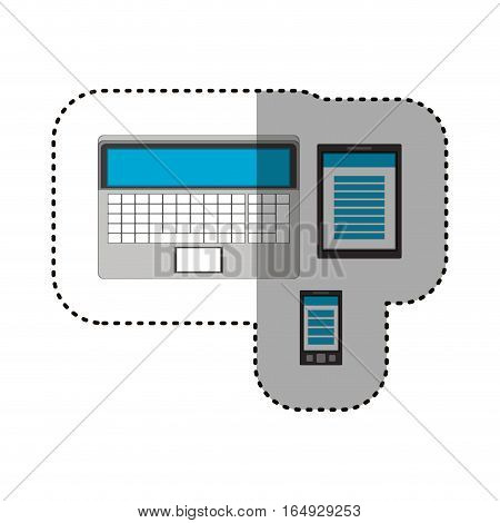 Laptop tablet and smartphone icon. Device gadget technology and electronic theme. Isolated design. Vector illustration