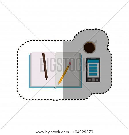Agend coffee mug smartphone and pencils icon. Notebook book directory and information theme. Isolated design. Vector illustration