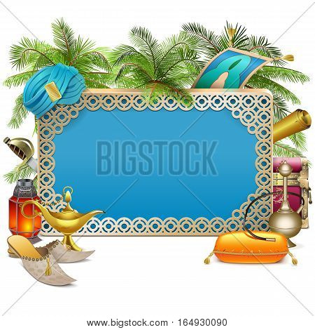 Vector Arabic Frame with Palm Tree isolated on white background