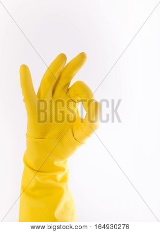 Hand With Glove Showing Ok Gesture