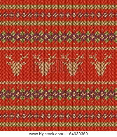 Knitted  texture on red, orange  background with deers. Colorful striped pattern. Sample can be used as scheme of knitting, wallpaper, design element, independent project, etc. Woolen cloth, handmade.