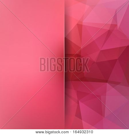 Geometric Pattern, Polygon Triangles Vector Background In Red And Pink Tones. Blur Background With G