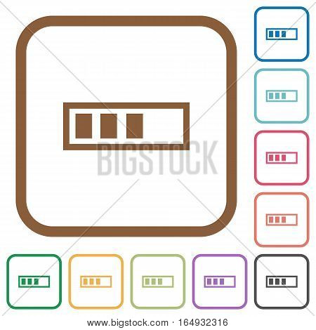 Progressbar simple icons in color rounded square frames on white background