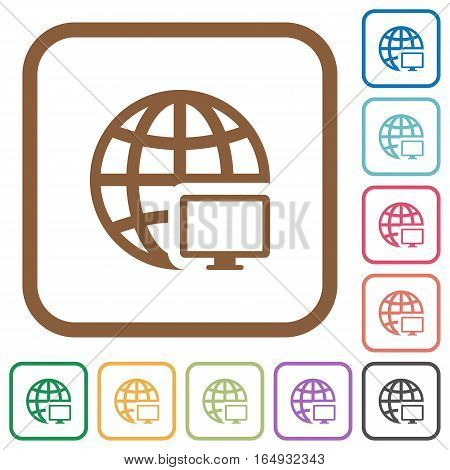 Remote terminal simple icons in color rounded square frames on white background