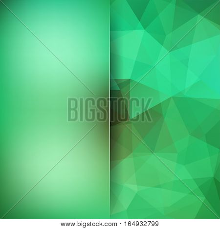 Geometric Pattern, Polygon Triangles Vector Background In Green Tones. Blur Background With Glass. I