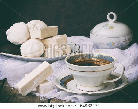 Sweet White Russian Marshmallow - Zephyr, Meringue And Cup Of Coffee On Wooden Background. Selective