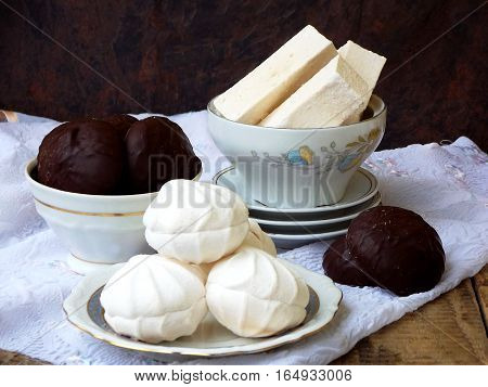 Sweet White Russian Marshmallow, Chocolate Zephyr, Meringue, Apple Pastila On Wooden Background. Sel