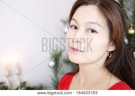 Asian Woman Face Portrait In Her Thirties, Beautifaul And Elegan