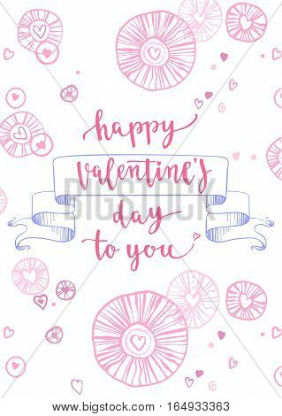 Vector illustration on white background with decorative hand drawing elements for greeting card Valentine's day or wedding, poster or leaflet.