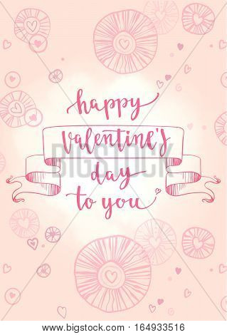 Vector illustration on pink background with decorative hand drawing elements for greeting card Valentine's day or wedding, poster or leaflet.
