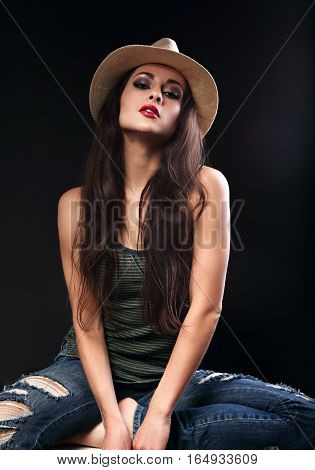 Beautiful Sexy Glamour Female Model In Cowboy Summer Hat Posing In Fashion Top And Ripped Jeans On D