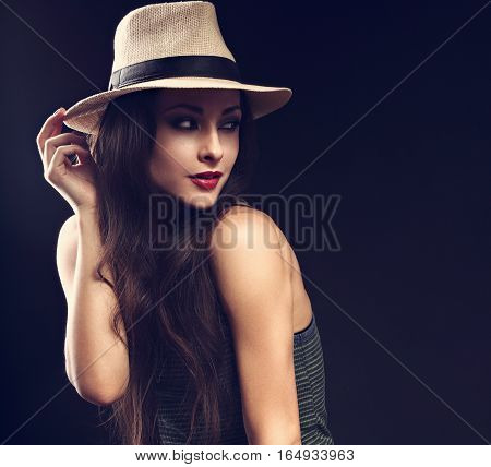 Beautiful Sexy Female Model With Holding The Hand Cowboy Summer Hat And Posing In Fashion Top On Dar