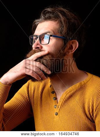 Thoughtful Hipster Man In Glasses