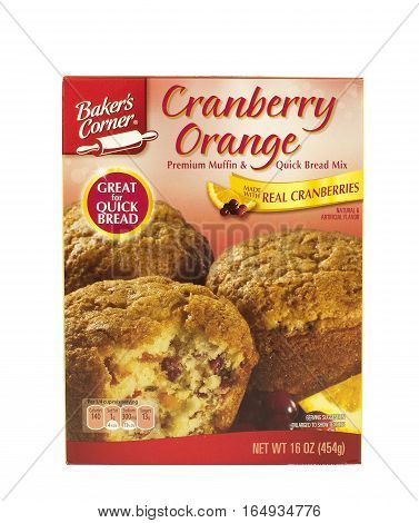 RIVER FALLS,WISCONSIN-JANUARY 12,2016: A box of Baker's Corner Cranberry and Orange muffin mix with a white background.