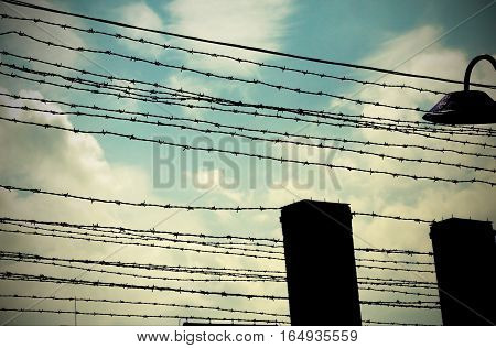 Old Barbed Wire To Demarcate The Prison Camp