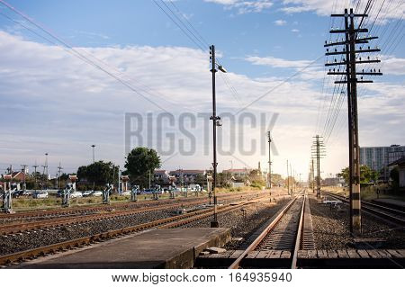 Railway corridor. Double-track railway go to station.