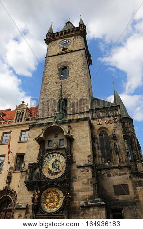 Ancient Tower With Astronomical Clock In Prague In Czech Republi