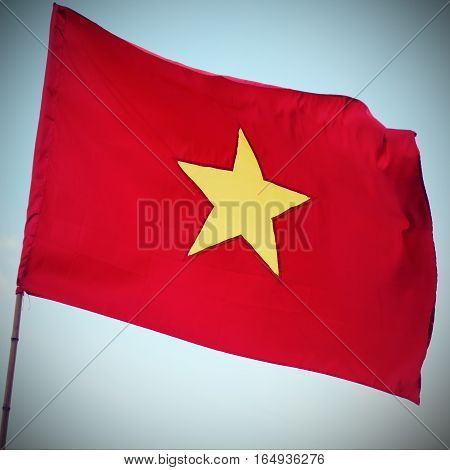 Red Flag Of Vietnam With The Big Yellow Star Waving