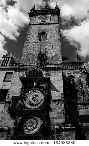 Tower With Astronomical Clock In Prague In Czech Republic Europe