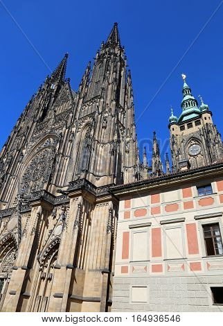 External Facade Of The Gothic Cathedral Of St. Vitus In Prague