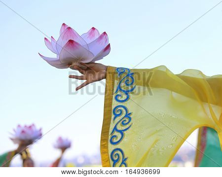 Big Flower Lotus In The Hands Of The Young Oriental Dancer