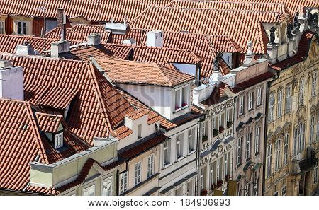 View Over The Roofs Of Old Buildings In The Heart