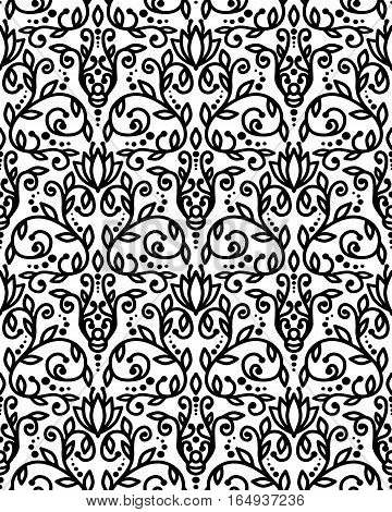 Abstract floral seamless pattern, line art background. Vector illustration.