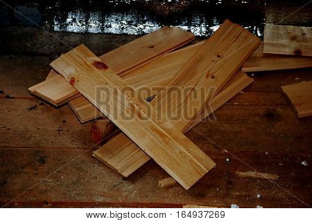 photo on background texture of wood paneling