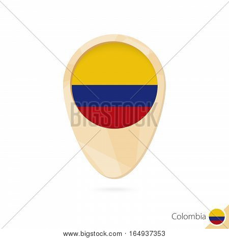 Map Pointer With Flag Of Colombia. Orange Abstract Map Icon.
