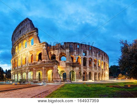The Colosseum in Rome Italy in the morning