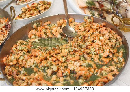 Shrimp Pan Cooked With Parsley And Broth For Sale