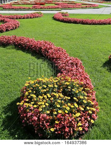 Garden With Many Flower Beds In A European City Park