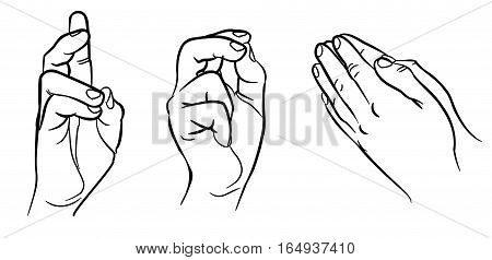 Praying hands. Hands in different interpretations. Vector illustration. Isolated on white background