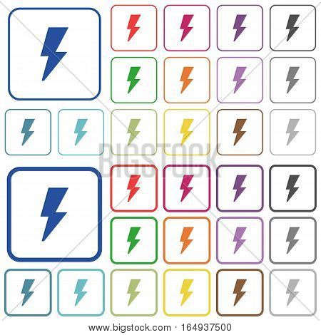 Flash color flat icons in rounded square frames. Thin and thick versions included.